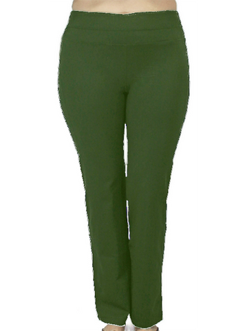 Traveler's collection stretch comfort pant in green for plus sized women.