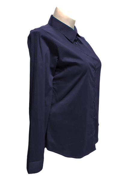 Long Sleeved Stretch Button Up Blouse in Navy Blue