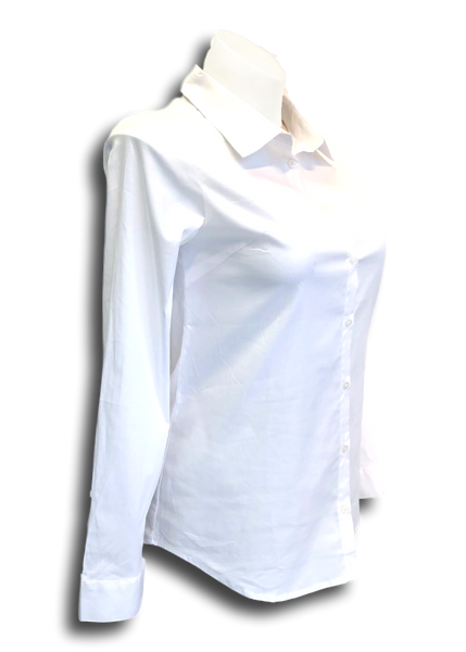 Long Sleeved Stretch Button Up Blouse in White