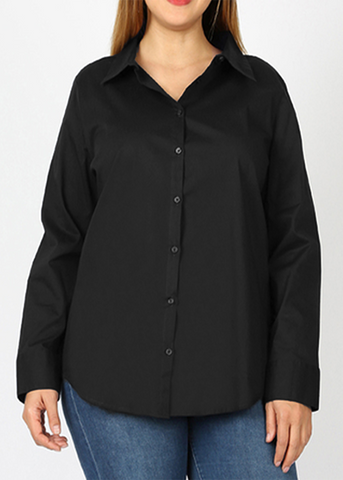 Long Sleeved Stretch Button Up Blouse in Black