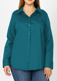 Long Sleeved Stretch Button Up Blouse in Teal Green