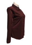 Long Sleeved Stretch Button Up Blouse in Burgandy