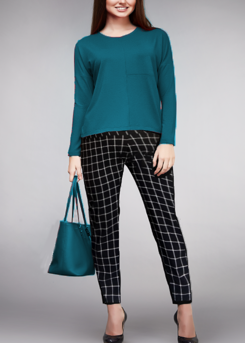 Women's pull on pant for missy and plus-size in square window pane black and white.