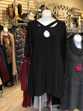 A-line Tunic Dress with Reverse Keyhole Neckline in Black