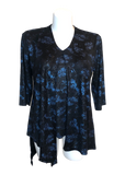 Split Front Shimmer Floral Top in Navy