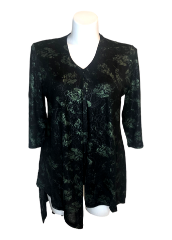 Split Front Shimmer Floral Top in Olive