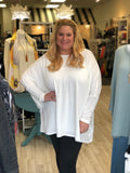 Drop Sleeve Rayon Sweater in Ivory