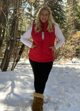 Red puffy winter vest on clearance sale