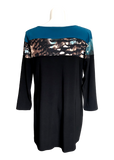 Print colorblock tunic in teal feathers