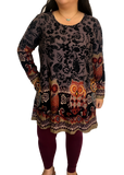Long Sleeve Pocketed Sweater Tunic in Gray Owl Print