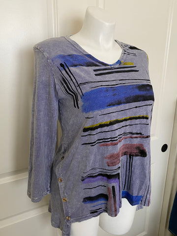 Jess and Jane Mineral Washed Cotton Tunic in Denim Splash