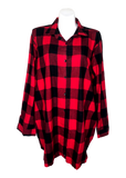 Plaid pocketed flannel big shirt in red buffalo check