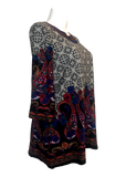 Printed Tunic with Embroidered Neck Line in Black and Gray Multicolor