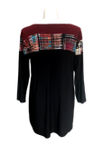 Print colorblock tunic in burgandy plaid