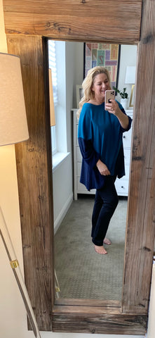 Lounge with Me French Terry Tunic in Teal and Navy