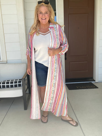Favorite Long Embroidered Duster Shirt