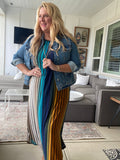 Between the Lines Striped Pocketed Maxi Dress in Teal, Gold, Navy and Tan