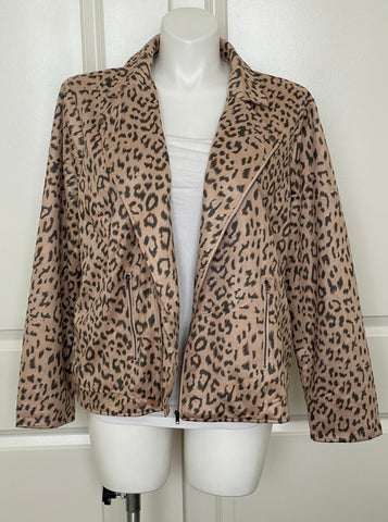 Plus size leopard moto jacket on sale
