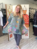 Viscose Tunic Dress in Whimsy Dots Safe Green