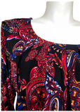 Long Sleeve Pleated Blouse in Red Paisley
