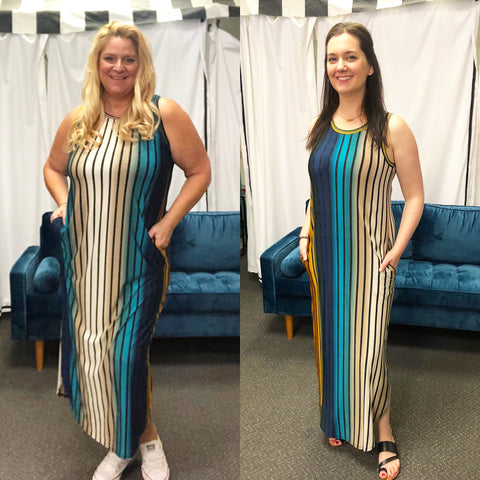 Striped Pocketed Maxi Dress in Teal, Taupe, and Gold