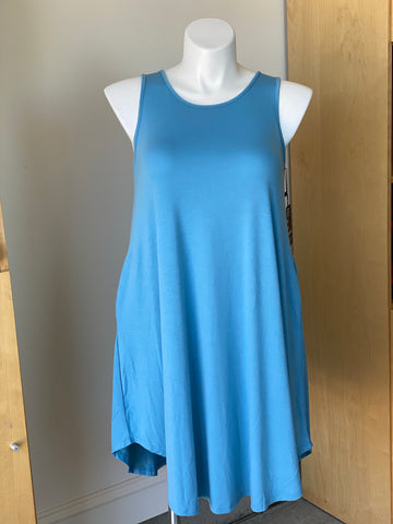Sleeveless Swing Dress with Pockets in Icy Blue