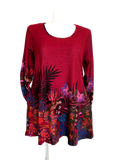 Long Sleeve Pocketed Sweater Tunic in Red Fern Print