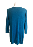 Jess and Jane Cotton Slub Hi Lo Tunic with Ribbed Hem in Bright Teal