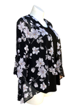 Fly Like a Butterfly Chiffon Kimono Black Jacket with Daisies