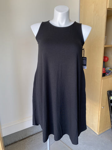 Sleeveless Swing Dress with Pockets in Black