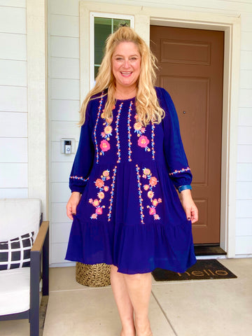 Whisk Me Away Embroidered Dress in Navy