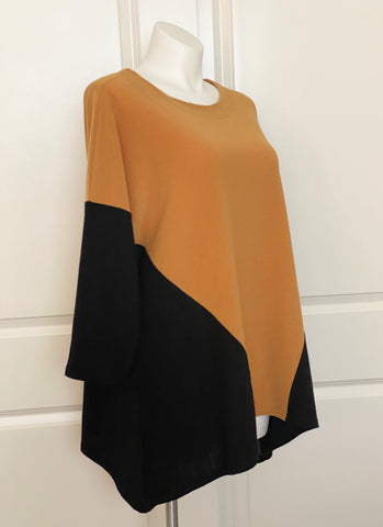 Lounge with Me French Terry Tunic Gold and Black