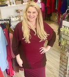 Lounge with Me French Terry Tunic in Burgandy and Brown