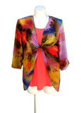 Chiffon Kimono Jacket in Coral Abstract Print