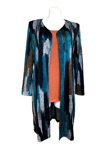 Long Varigated Sweater Duster in Teal, Brown and Black