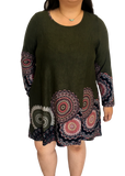 Long Sleeve Pocketed Sweater Tunic in Olive Mandala