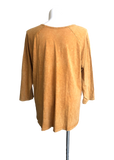 Mineral Washed Printed Cotton Raglan Tunic with Patch Pockets in Gold