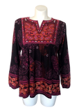 Embroidered Peasant Top in Plum and Magenta