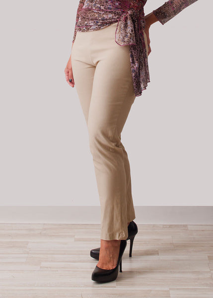 Pull on stretch comfort jegging in tan for missy and plus size women