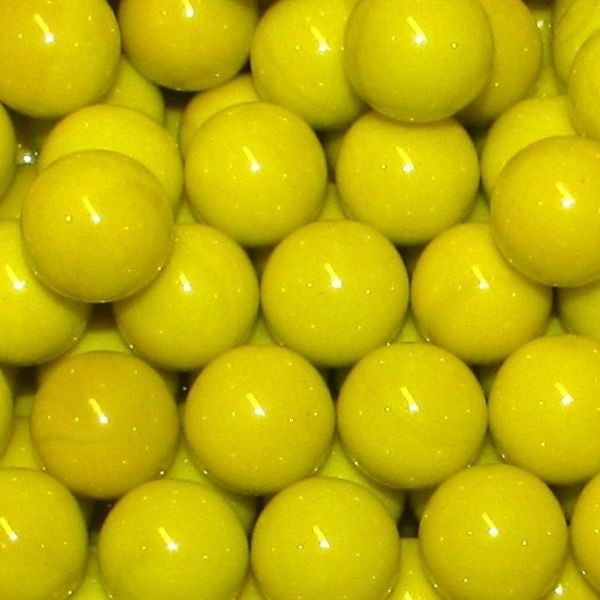 "Mega Fun 1"" (25mm) Opaque Yellow Glass Marbles All"