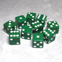 "Koplow Games Opaque 5/8"" (16mm) Green/White Dice"