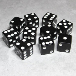 "Koplow Games Opaque 5/8"" (16mm) Black/White Dice"