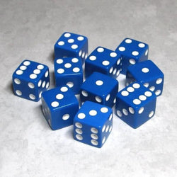 "Koplow Games Opaque 5/8"" (16mm) Blue/White Dice"