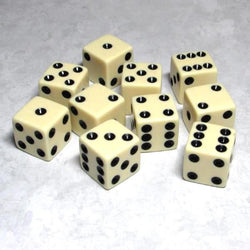 "Koplow Games Opaque 5/8"" (16mm) Ivory/Black Dice"