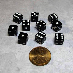"Koplow Games Ten Opaque 5/16"" (8mm) Black/White Dice"