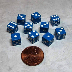 "Koplow Games Ten Opaque 5/16"" (8mm) Blue/White Dice"
