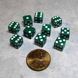 "Koplow Games Ten Opaque 5/16"" (8mm) Green/White Dice"