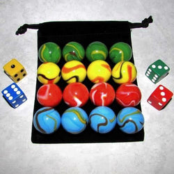 "MO-Marbles Four Player 1"" Rainbow Aggravation Wahoo Glass Marbles Set"