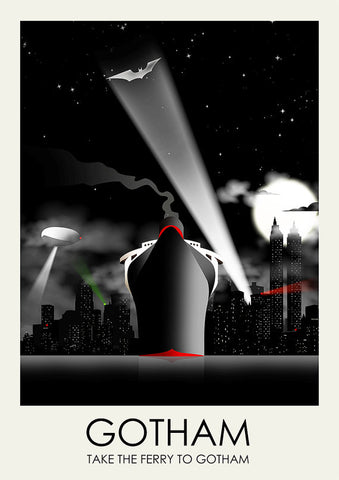 Batman Inspired Framed Travel Print - Gotham