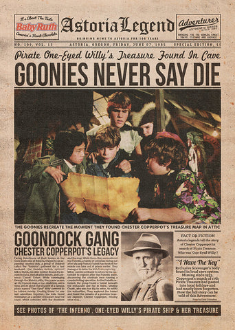 Goonies Inspired Framed Newspaper Print